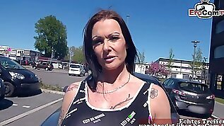 German Milf pick up EroCom Date Casting with big tits