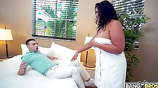 50 yo cougar stepmom loves her shy silent stepson and she wants his dick