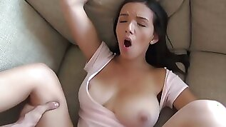 Brunette girl with her juicy breasts cheats on lesbian girlfriend