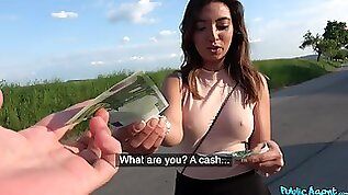 Aroused chick likes sucking hard dick for money and the fucking is for free