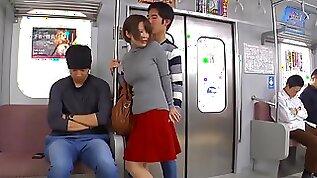 UMSO asian school girl in bus public