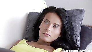 To reach orgasm sexy black haired MILF Lexi Dona enjoys missionary