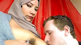 Shy Lactating arab milf breastfeeds new husband. Hijab big tits