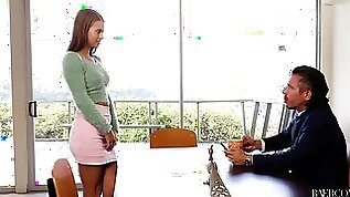 Dirty secretary Jill Kassidy lays over the office table to be fucked
