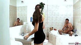 Dad Seduce Hairy teen Pussy Step Daughter to Fuck in Bath German