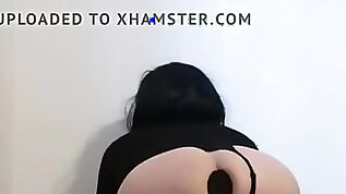 Electro stimulation anal big butt plug whore slut play