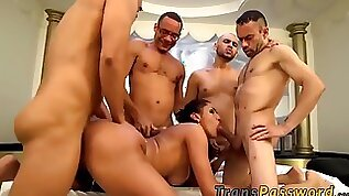 Strung Up t honey gets the hottest group sex in her life