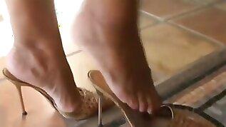Mature legs feet in high heels mules best of