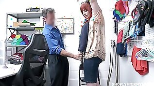 Chubby redhead MILF Amber Dawn is punished with missionary on the table