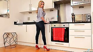 Blond milf Georgie Lyall is masturbating wet cunt spreading legs on the kitchen table