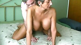 Pretty gramma with gigantic juggs doggy fucked