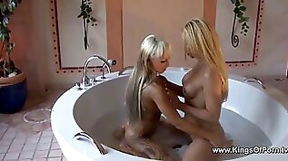 Male to female transsexuals take bath and anally fuck each other