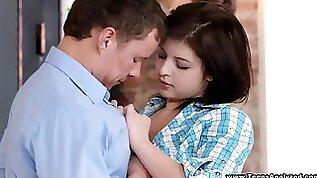 Cute face brunette teen girl first time anal