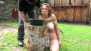 Crummy short haired MILF is made to eat food from dirty hands of her master
