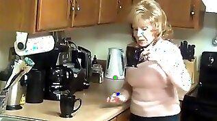 Granny big boobs high heels