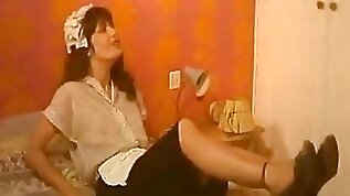 Horny maids are spying on a couple having passionate sex in a master bedroom