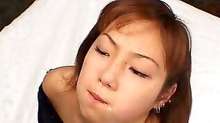 Japanese girl face slapped and drunk piss