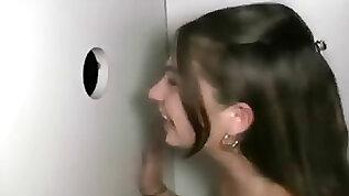 Watch real gloryhole brunette
