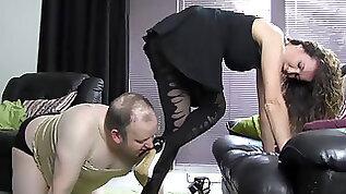 Submissive slut sucking high heel for satin panties nylon