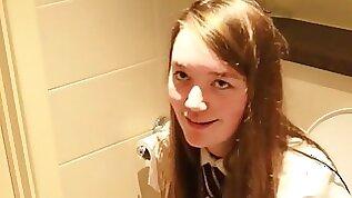 British Schoolgirl Pissing on the Toilet