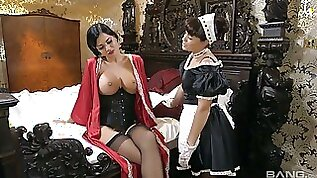 Big tittied British mistress Jasmine Jae enjoys eating maids tasty pussy