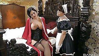 Big tittied British mistress Jasmine Jae enjoys eating maids tasty pussy
