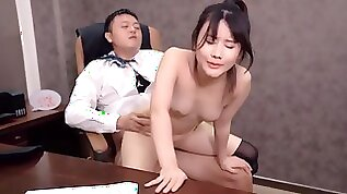 Chinese office porn boss fucks perky tits anal with cumshot