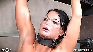 Big natural tits dame face fucked when getting tortured in BDSM