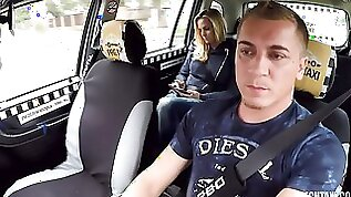 Sweet busty blonde opens her tight crack for a fake driver