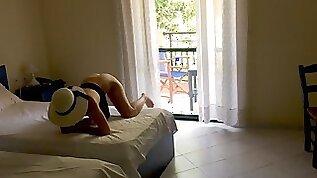 voyeur POV Stranger watching teen tourist was invited for doggy sex