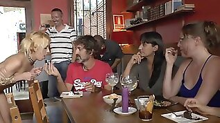 Petite blondie double penetrations made love in bar in public