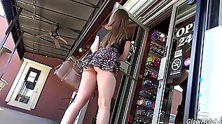 Sweet white brunette teen girl in the gloryhole feeds and fucks on big black dicks