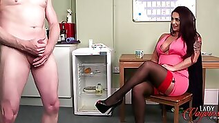 Sexy Rara Curves watches her colleague jerk off next to her