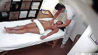 Oiled up for a massage but gets pussy fucked real hard instead