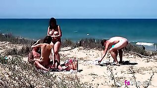 Shameless Naked Spanish Couples Copulate On Wild Beach
