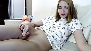 Teenage transgender chick with natural titties in Jammies taunt
