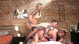 Hot shemale fucks man and his wife in crazy threesome