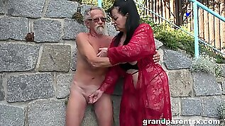 Young girl joins a much older daring lady for a public fourway fuck