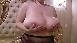 Silicone free giant boobs on curvy blonde solo