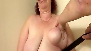 Strokes On Her Fat Breasts