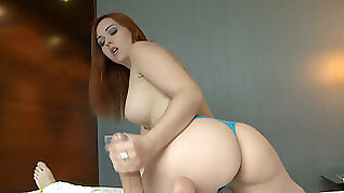 Blue eyed redhead babe Angell Summers swallows thick white cock on POV video