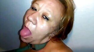 Submissive slut gag and puke