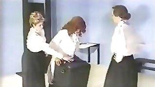 Bdsm matures dominate a redhead lesbian together