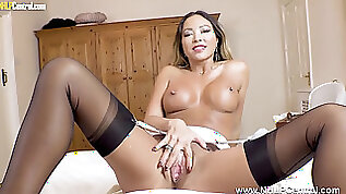 Stunning Nurse Natalia Forrest peels off uniform drains in nylons stilettos