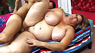 Fat chick playing with freckled tits getting fucked