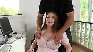 Big natural boobs office