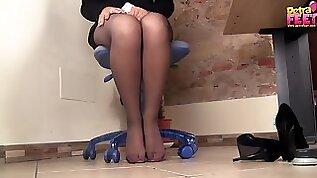 Petra the office secretary gets her gorgeous feet filmed