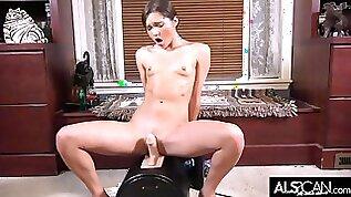 Zoe Bloom Breaks a Sweat Riding High Powered Sex Machine