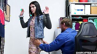 Shoplifting brunette Sadie Blake gets mouth and pussy punished