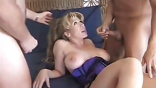 Mature blonde chick fucked hard by two cunt craving hunks